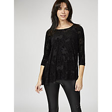 Attitudes by Renee 3/4 Sleeve Flocked Mesh Tunic with Cami