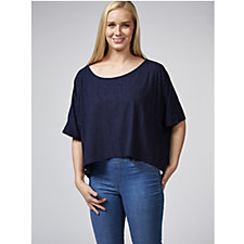 Join Clothes 3/4 Sleeve Ribbed Jersey Cropped Tunic