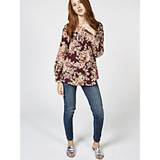 Denim & Co. Printed Button Front Blouse