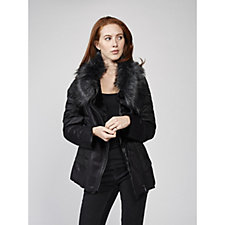 Centigrade Bonded Faux Shearling Faux Fur Collar Jacket