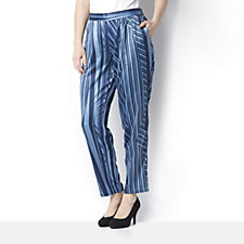 H by Halston Printed Charmeuse Ankle Length Trousers