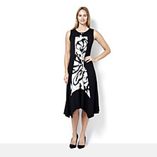 Yong Kim Sleeveless Jersey Maxi Dress with Printed Floral Panel