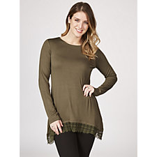 Logo by Lori Goldstein Long Sleeve Jersey Top with Lace Trim Detail