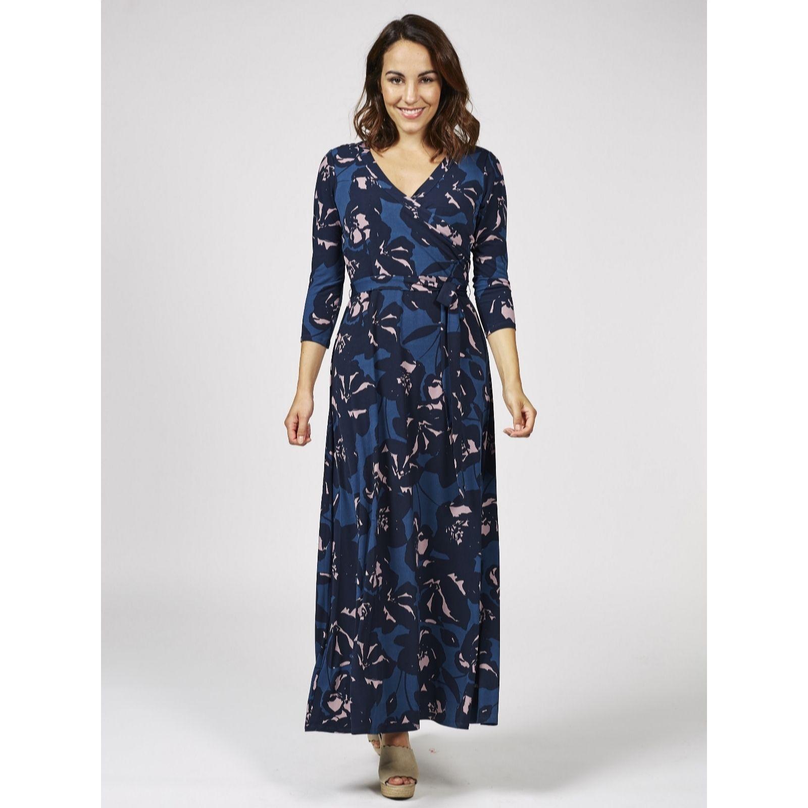 3ed2755f87ded Du Jour Printed Wrap Knit Maxi Dress Regular - QVC UK