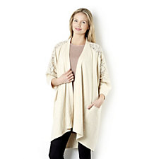 Outlet LOGO by Lori Goldstein Cardigan with Lace Back Insert