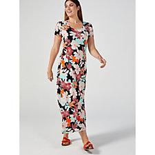 Kim & Co Brazil Jersey Short Sleeve Hi-Low Hem Maxi Dress Petite