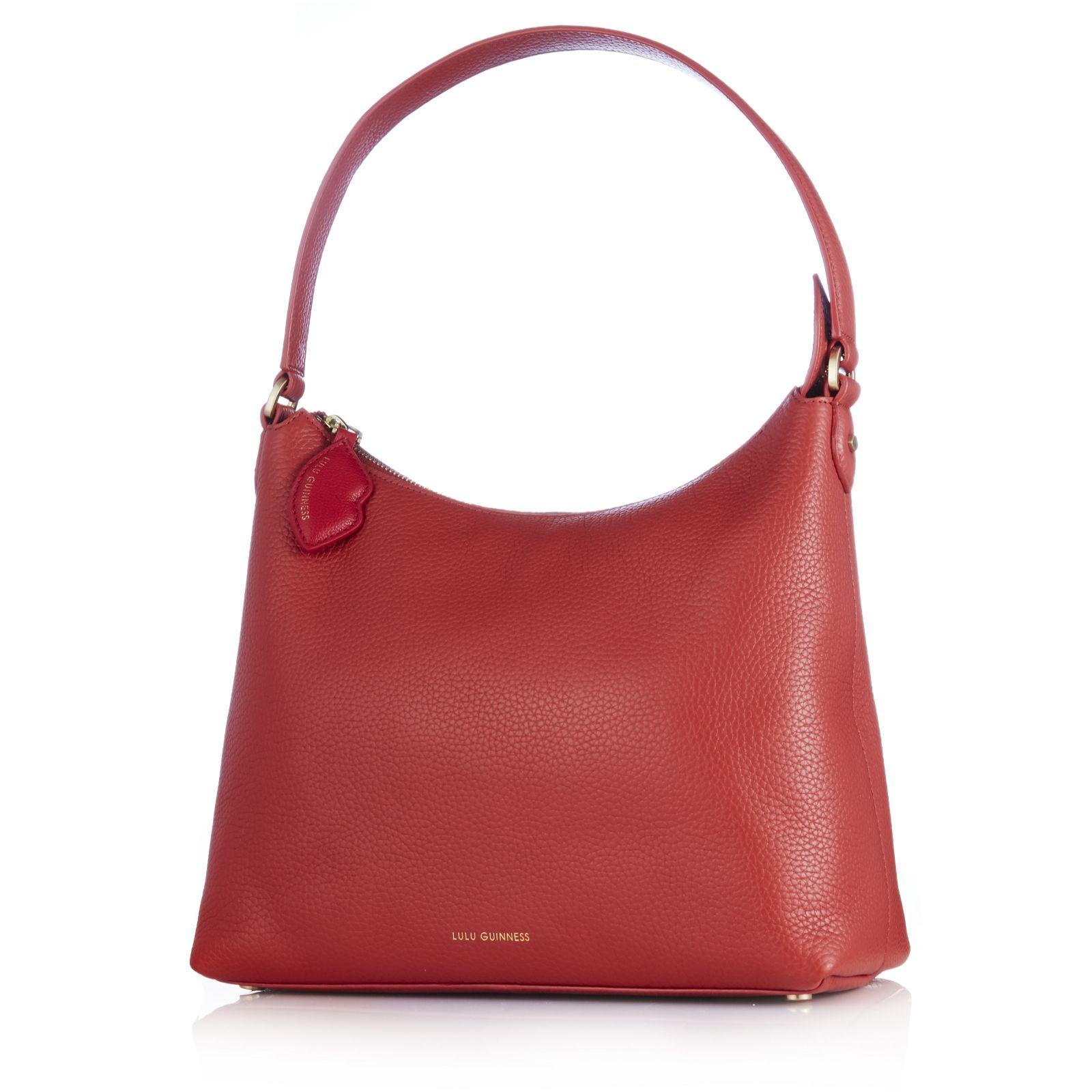 463b485013493 Lulu Guinness Lucilla Grainy Leather Hobo Bag - QVC UK