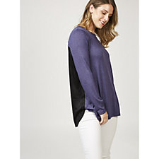 H by Halston Hacci Long Sleeve Tunic with Faux Suede Back