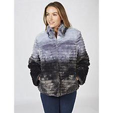 Dennis Basso Grooved Faux Fur Coat