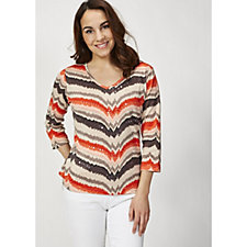 Artscapes Blurred Stripe V Neck 3/4 Sleeve Top