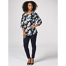 Kim & Co Romantic Floral Brazil Jersey 3/4 Blouson Sleeve Top