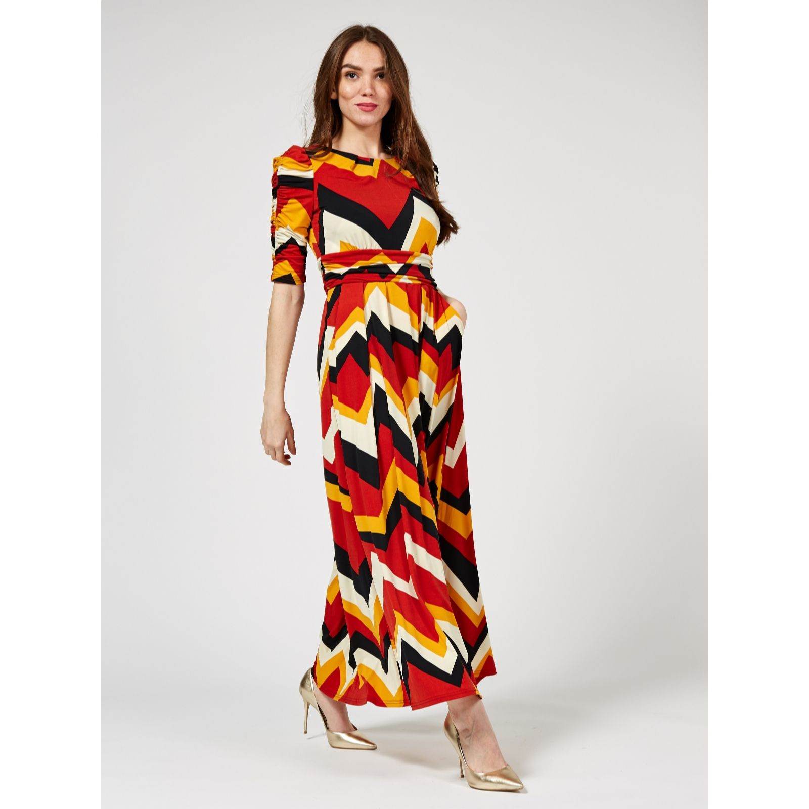 c4ab01433546 Jolie Moi Leah Printed Maxi Dress - QVC UK