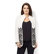 Andrew Yu Lace Embossed Edge To Edge Knitted Jacket