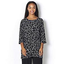 Kim & Co Brazil Knit Printed 3/4 Bell Sleeve Tunic