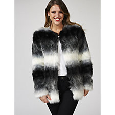 Bonnie Day Long Line Striped Faux Fur Jacket