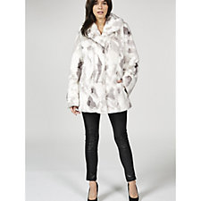 Dennis Basso Sculpted Faux Fur Shawl Collar Coat