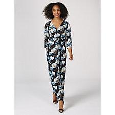 Kim & Co Romantic Floral 3/4 Sleeve Twist Front Maxi Dress