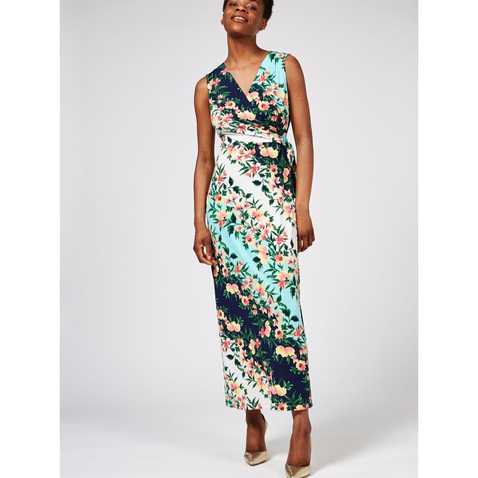 9569fc4faf5 Sleeveless Printed Maxi Dress with Keyhole Detail by Nina Leonard ...