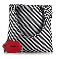 Lulu Guinness Lip Stripe Foldaway Shopper