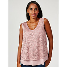 Together Double Layer Lace Front Jersey Vest Top