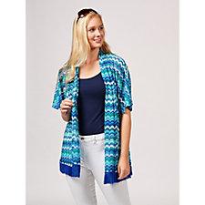 Novelty Knit Kimono with Tassel Trim by Susan Graver