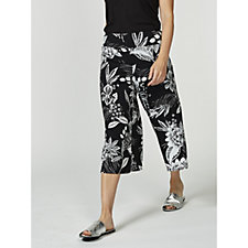 Coco Bianco Cropped Printed Palazzo Trousers