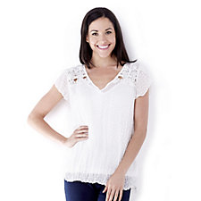 Together Dobby Crochet Detail Top