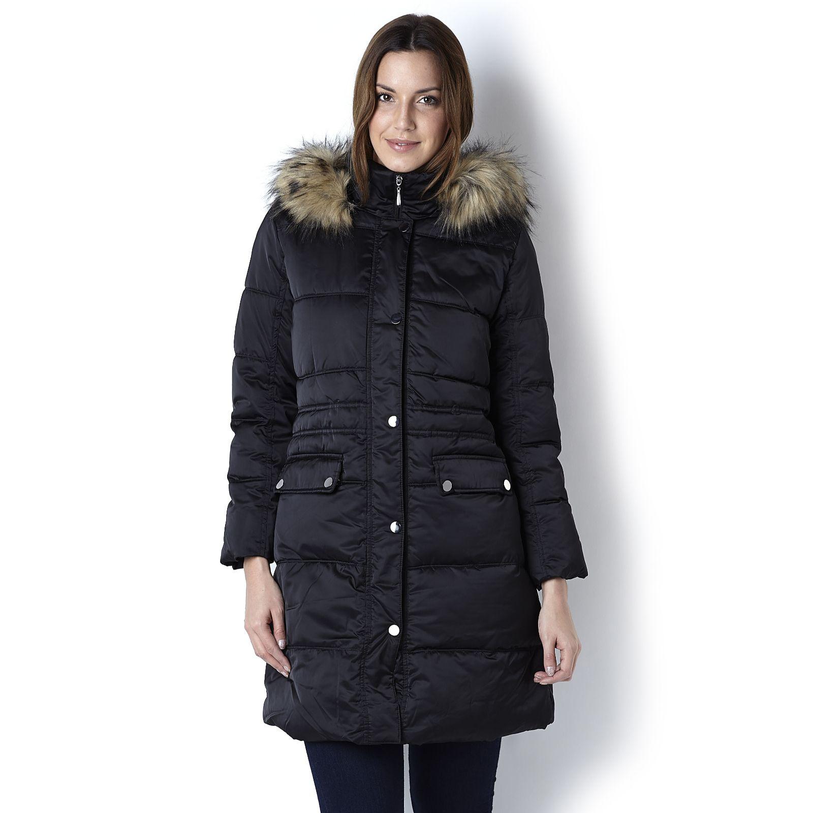 656608888d8 Centigrade Faux Down Washable Coat with Detachable Faux Fur Trim ...
