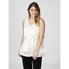 H by Halston Sleeveless Lace Detail Top