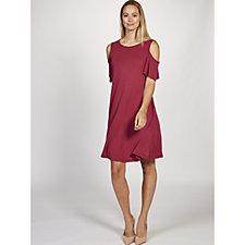 Ronni Nicole Flutter Sleeve Cold Shoulder Swing Dress