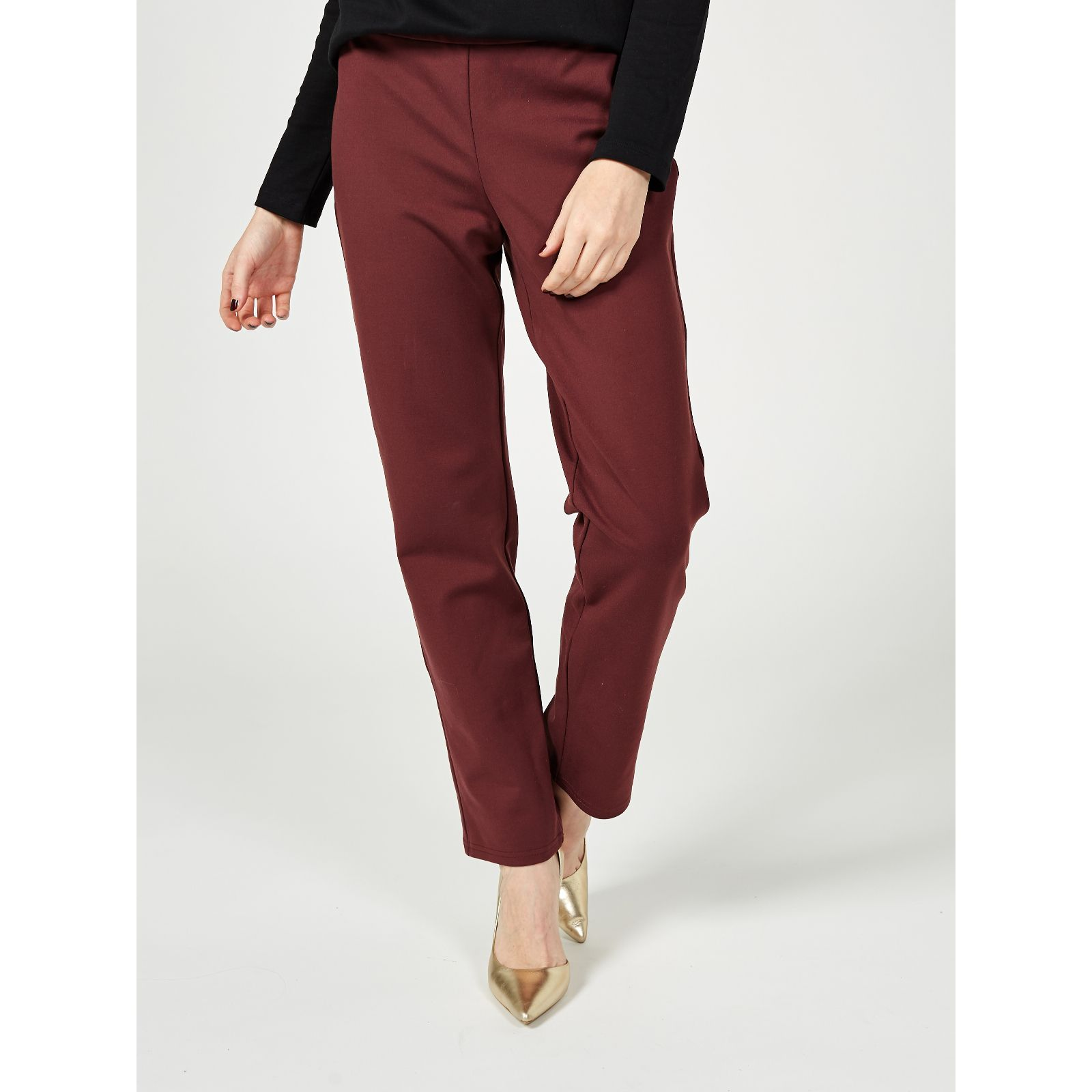 MarlaWynne FLATTERfit Premium Pant Camel Pull On Ankle Length Pants Size 10