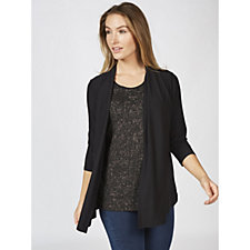 Dennis Basso Caviar Crepe Cardigan Attached Jacquard Top