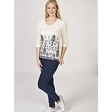 Artscapes Floral Paisley Border Print Top with 3/4 Sleeves