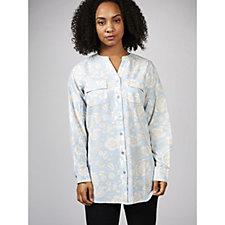 Denim & Co. Printed Soft Y Neck Button Front Shirt