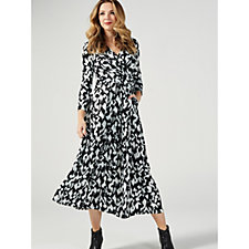 J by Jolie Moi Wrap Front V Neck Maxi Dress with Long Sleeves