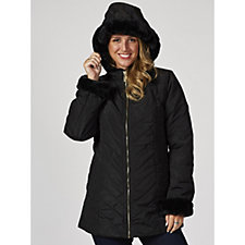 Dennis Basso Water Resistant Quilted Jacket with Faux Fur Trim