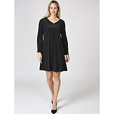 Long Sleeve V Neck Trapeze Dress by Nina Leonard