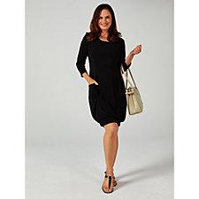 Printed 3/4 Sleeve  Elasticated Hem Dress by Nina Leonard