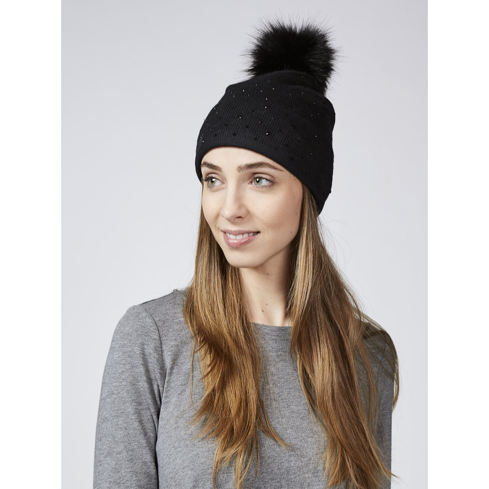 d4faf1cfc91 Frank Usher Crystal Embellished Hat with Removable Faux Fur Pom Pom - QVC UK