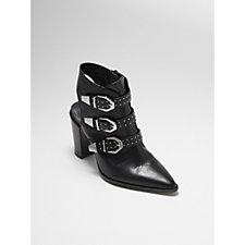 Bronx High Heeled Leather Buckled Ankle Boots