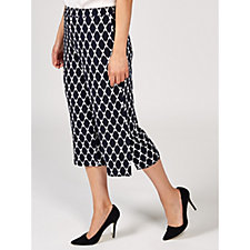 Printed Liquid Knit Pull On Wide Leg Crop Trousers by Susan Graver