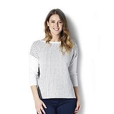 MarlaWynne Dash Dot Knit Contrast Drop Shoulder Sweater