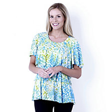 Outlet Short Sleeve Round neck Tiered print Top