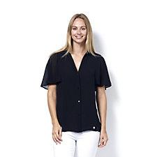 L'Officina della Moda Fluted Sleeve Blouse