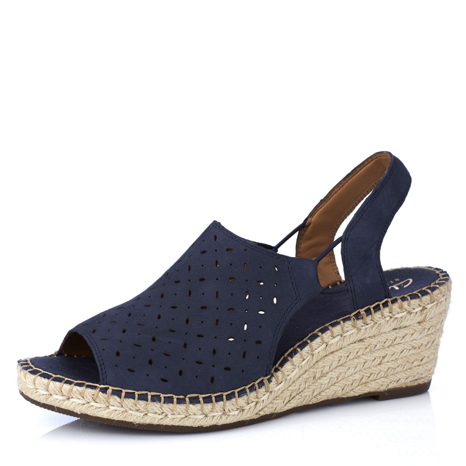 42982e6bd94e Clarks Artisan Petrina Gail Leather Espadrille Wedge Sandal Wide Fit - QVC  UK