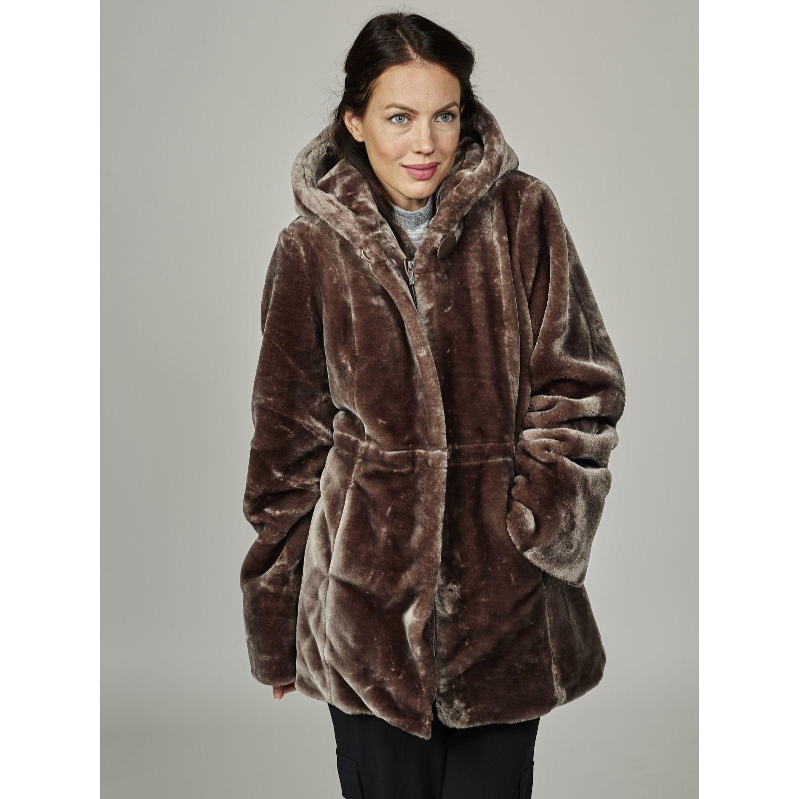 511de4189da88 Dennis Basso Faux Fur Hooded Coat with Print Lining   Drawstring Waist -  QVC UK