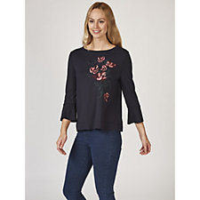 Betty & Co Floral Embroidered Flute Sleeve Top