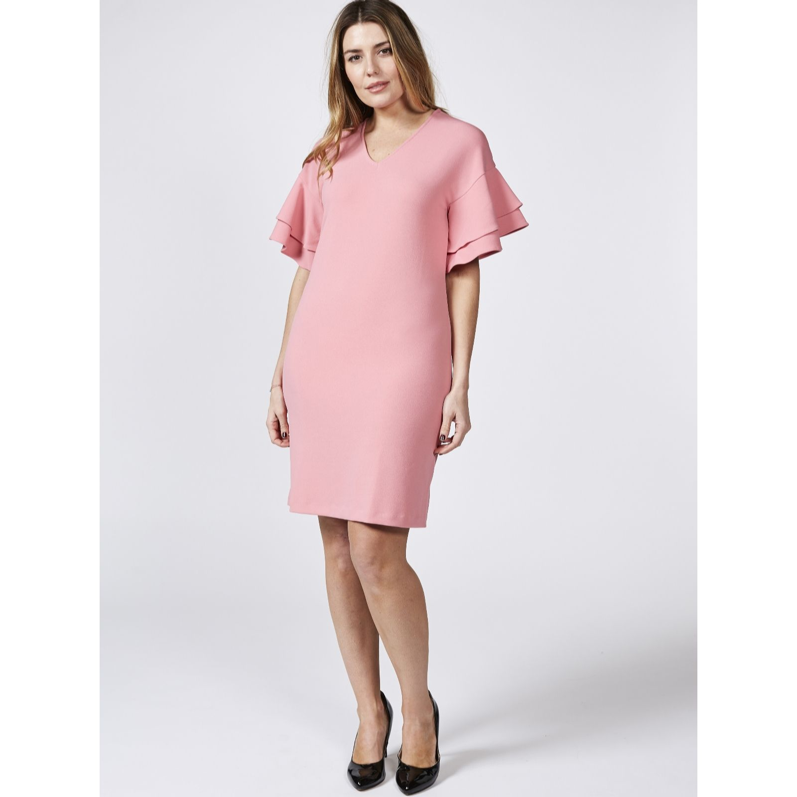 d9006776e8e V Neck Dress with Dropped Shoulder by Nina Leonard - QVC UK