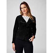 Isaac Mizrahi Live Front Frill Suede Jacket