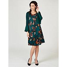 Olly Doo Floral Blouson Sleeve Tunic Dress
